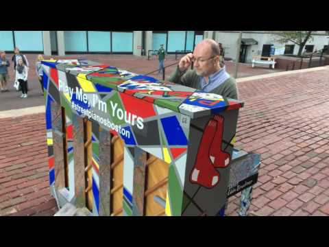 Piano Playing On Eddie Bruckner's Play Me, I'm Yours Boston Street Piano At Boston City Hall Plaza