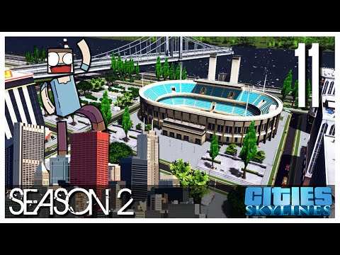 Cities Skylines - S2 Ep.11 : The Seawall & Stadium!