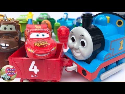 きかんしゃトーマスとディズニーカーズの子ども向けおもちゃ学習動画。英語の色と数字、動物の名前を覚えよう! 【ウピさん&upisch】