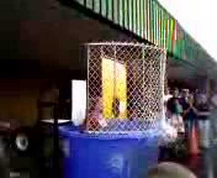 Mrs. Kegley in the dunking booth