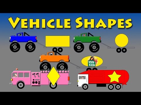 Vehicle Shapes - Monster Truck, Fire Truck, Motorcycle, Garbage Truck