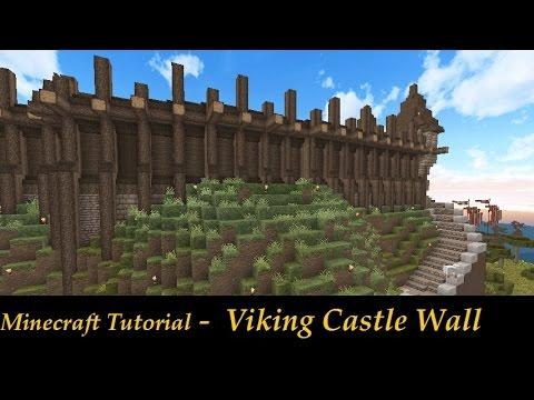 Minecraft Simple Castle Wall Tutorial Medieval Nordic Viking - Minecraft wikinger hauser