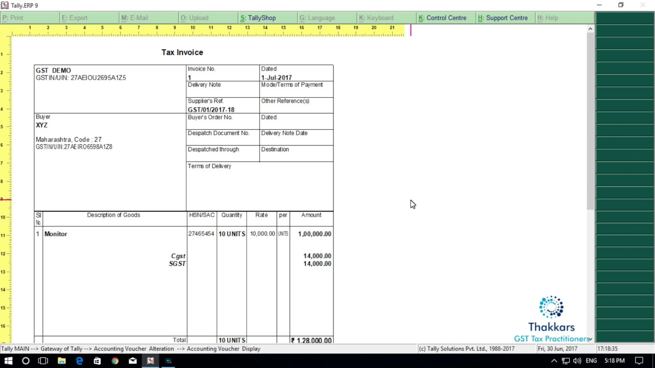 GST Accounting in Tally Erp 9 / Printing tax invoice from tally Erp ...