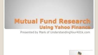 Mutual Fund Research Using Yahoo Finance