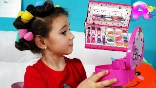 Anna and funny stories with toys for girls
