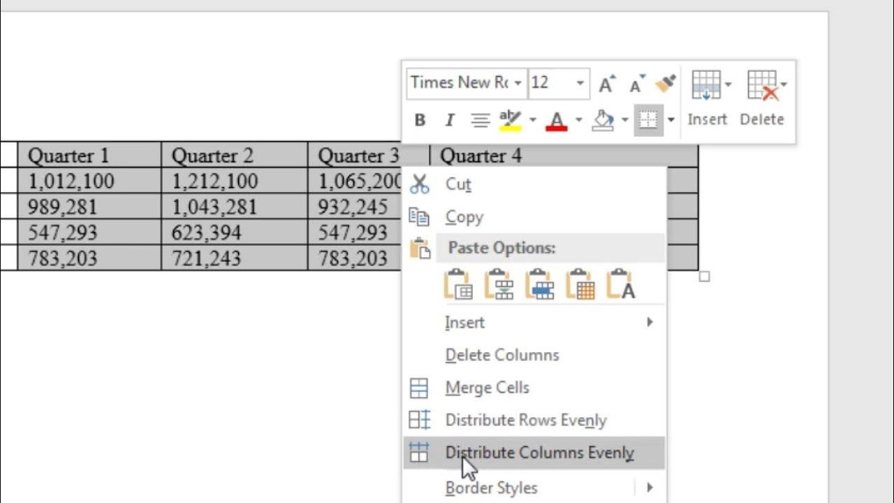 make table columns even in word  make all columns the same