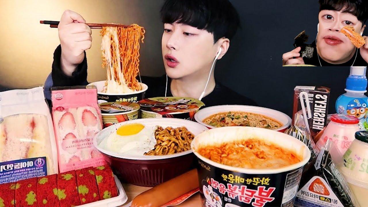 Download SUB)어노잉 상윤쓰 2탄!🤪 편의점 먹방 (ft. 얼굴 보정) 불닭볶음면 짜파게티 샌드위치 뽀로로🐧 Korean Convenience Store food MUKBANG !