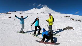 ЭЛЬБРУС горнолыжный курорт СПУСК с ГАРАБАШИ 3847м на Горных лыжах