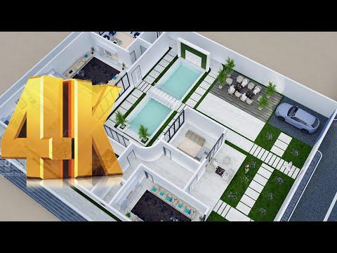 """مخطط ثلاثي الابعاد """"فيلا خاصة""""  #مخططات فلل   Plan 3D Private Villa Design (5) 4K"""