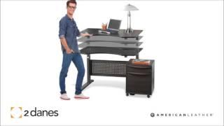 2 Danes Furniture  Adjustable Office Desk - Sit Stand By Jasper