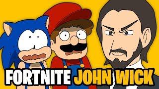MARIO and SONIC vs FORTNITE JOHN WICK Keanu Reeves and THANOS Avengers Endgame