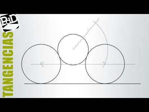 Circunferencia tangente a otra circunferencia y una recta conociendo su radio.