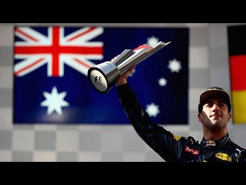Daniel Ricciardo reacts to Malaysian Grand Prix win