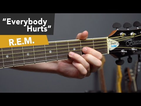 R.E.M. Everybody Hurts Guitar Lesson Tutorial for Beginners EASY RIFF + Barre Chords!