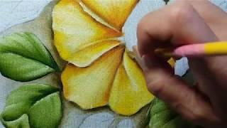 Hibiscos amarelos – Parte 2 – Pintura em tecido