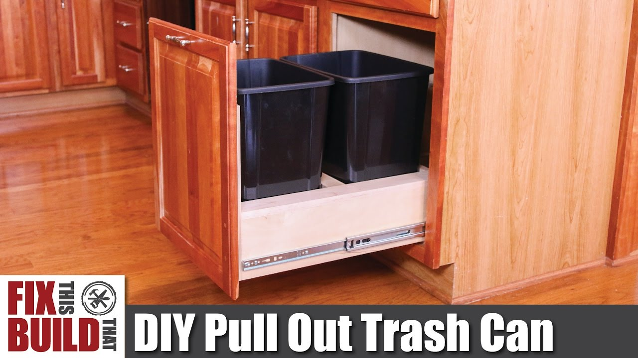 Diy Pull Out Trash Can In A Kitchen Cabinet How To Youtube