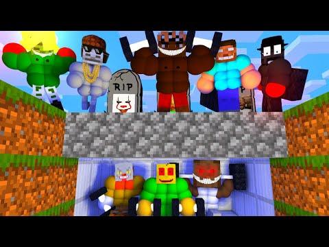 Bodybuilding Brave Monster School Minecraft Challenge Villains Funny Animation