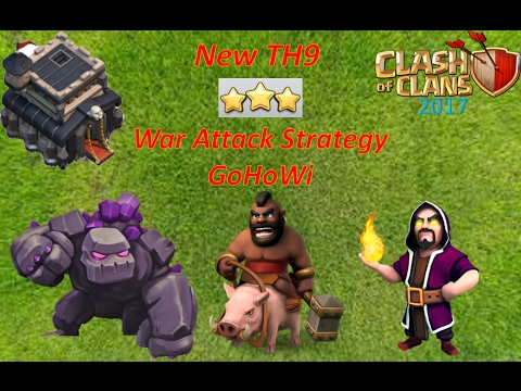 New TH9 3 Star War Attack Strategy ( Golem + Hogs + Wizard ) Clash of Clans - 2017