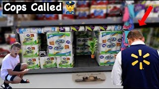 INSANE TOILET PAPER HOUSE IN WALMART! WE GOT KICKED OUT *COPS CALLED*
