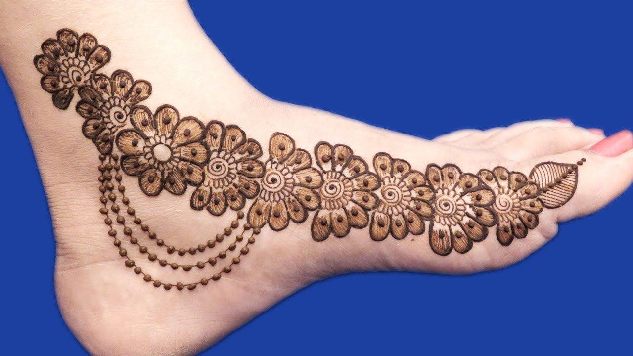 Floral Mehndi Design For Feet Step By Step Designer Henna Mehendi