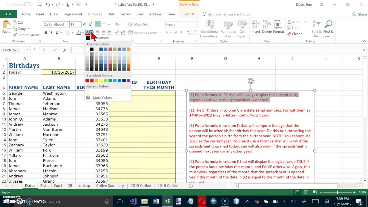 Excel 2016 Practice Test  Test 2, Video 1