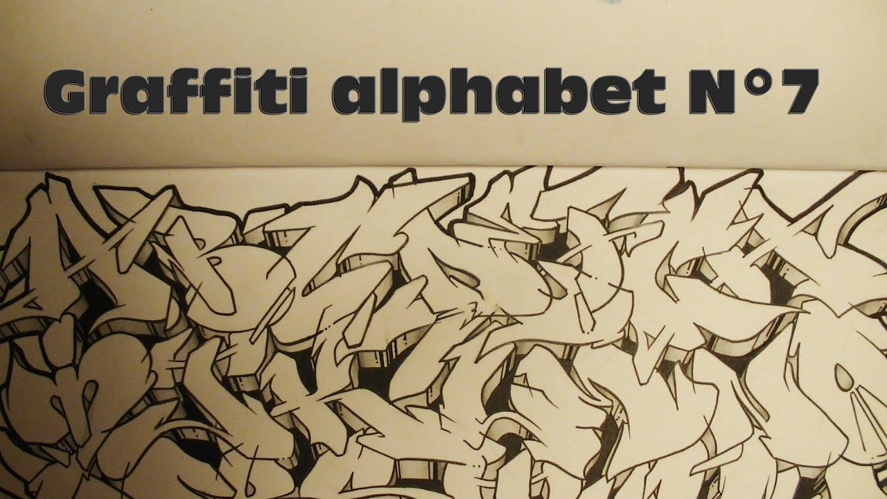 Graffiti alphabet n7 lettres complexes dans mon blackbook hd 1080