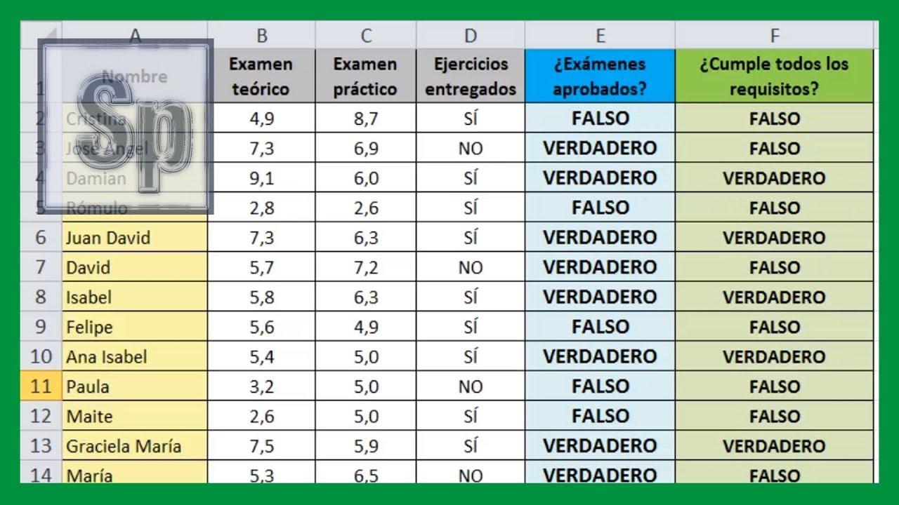 Excel Funci 243 N Y Funci 243 N L 243 Gica Y En Excel Tutorial En