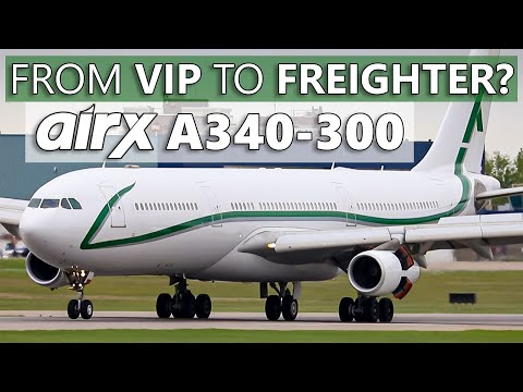 VIP Aircraft Turned FREIGHTER! AirX Charter Airbus A340-312 At Calgary International Airport