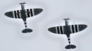 Spitfire Mk IX Pair Display at Duxfords D-Day 75 Air Show