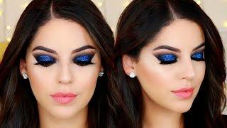 Ojos Ahumados Negro con Brillo Azul para Año Nuevo | Black & Blue Glitter Smokey Eye