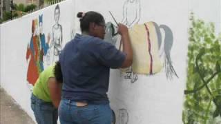 Realizacion mural aldea 13 de abril estudiantes armando reveron mision sucre