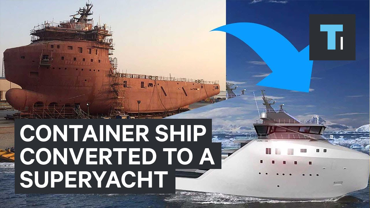 Container ship converted to a superyacht