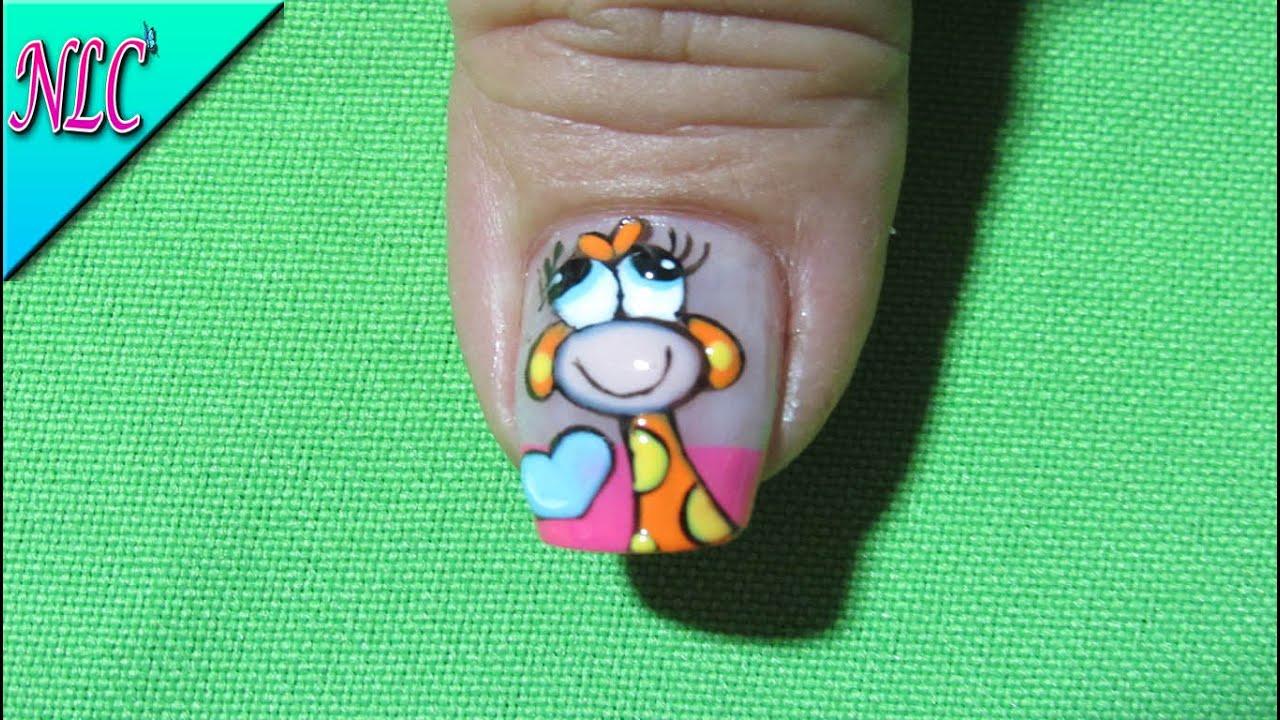 Decoración De Uñas Jirafa Giraffe Nail Art Nlc Youtube