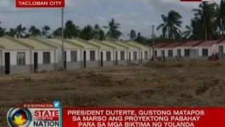 Video President Duterte, gustong matapos sa Marso ang proyektong pabahay para sa mga biktima ng Yolanda download MP3, 3GP, MP4, WEBM, AVI, FLV September 2018