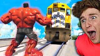 Can You STOP THE TRAIN As MEGA RED HULK?! (Mods)
