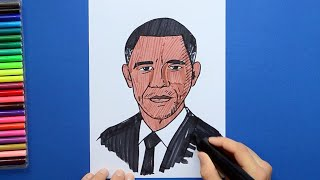 How to draw and color Mr. Barack Obama - Former President of USA