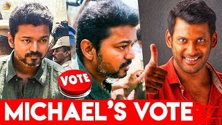 Thalapathy Vijay Mass Entry at Nadigar Sangam Elections 2019 | Vishal , Bhakiyaraj