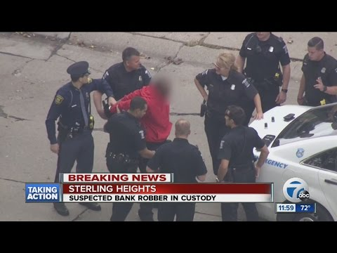 Bank robbery suspect arrested after carjacking man, tying up employees in Sterling Heights