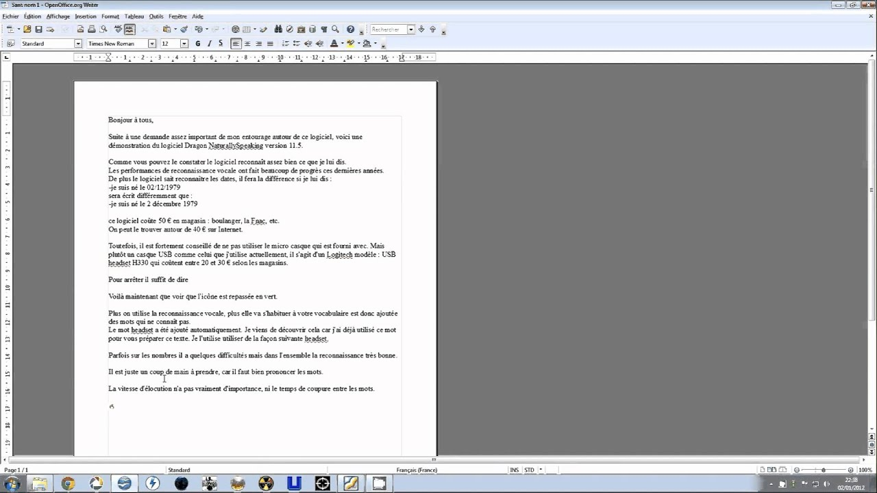 test de d monstration du logiciel dragon naturallyspeaking en fran ais youtube