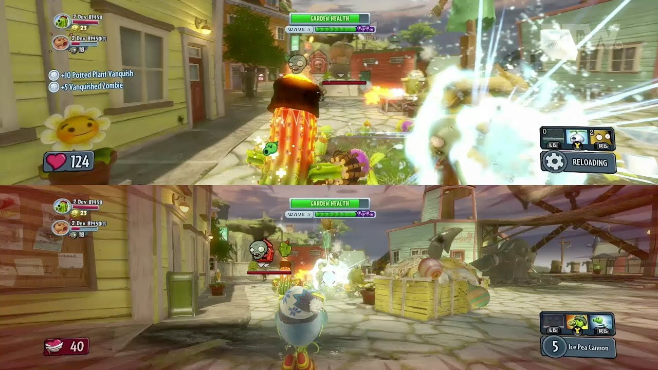 Plants vs Zombies Garden Warfare Split Screen Gameplay and Boss