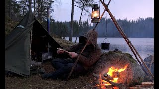 Wild Solitude - 5 days solo bushcraft, camping in all weather conditions, woodstove, canvas tent