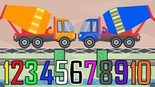 Colorful Concrete Mixer - Learning colors  and numbers & Cartoon Animation for KIDS and BABIES