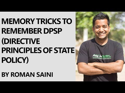 Roman Saini - Memory Tricks to remember DPSP (Directive Principles of State Policy) Classification