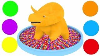 Aprender as cores com bolas, trens, carros pequenos com Dino e Ethan !   Desenho Animado Educativo