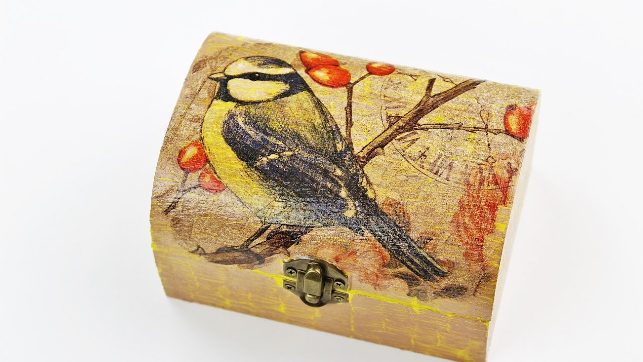 Decoupage wooden box with Easy Crackle - Fast & Easy