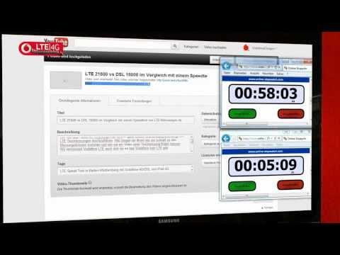 LTE 21600 vs DSL 16000 Hochladen im Vergleich eines YouTube Filmes von LTE-Me
