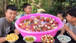 Làm Thau Dừa Tắc Trái Cây Khổng Lồ