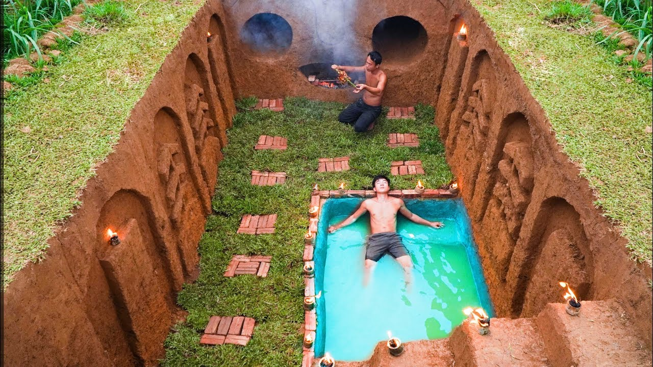 Build Swimming Pool Water Slide Human Face Around Secret Underground House