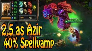 AZIR - 2,5 Attackspeed, 40% Spellvamp solo Drake + Baron TRY