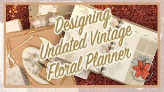 Undated Yearly Planner: Hexagon Vintage Floral Design